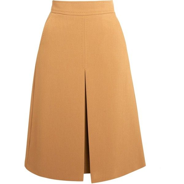 Marella Arena Inverted Pleat Skirt, Camel (9.510 RUB) ❤ liked on Polyvore featuring skirts, stretch skirt, inverted pleat skirt, pocket skirt, stretchy skirt and marella