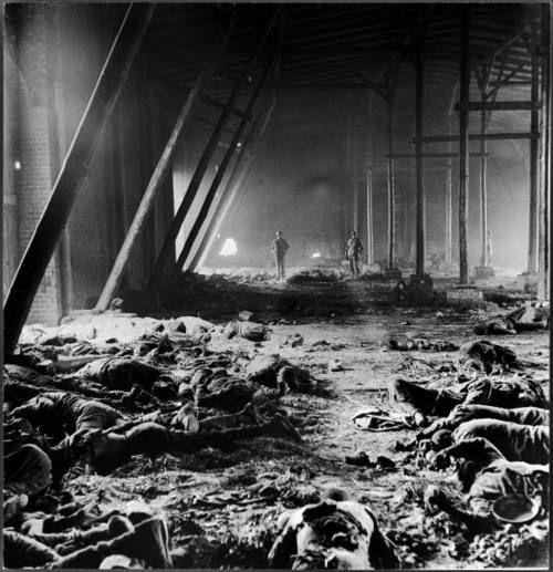 Here, at Gardelegen Concentration Camp, the guards panicked as Allied forces drew closer. In an effort to stop the prisoners from escaping or being liberated by the advancing Americans the guards locked a majority of them inside the warehouses and burned them alive. By the time the US Army arrived to the camp, the warehouse was smoking and the majority of prisoners dead.