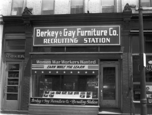 WWII recruiting station for women war workers for Berkey & Gay Furniture Co., 20 North Division - June 7, 1944