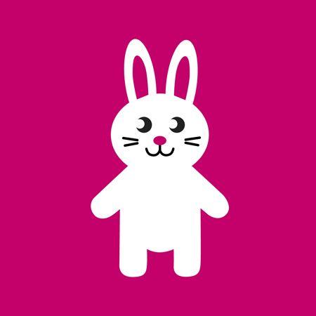 White rabbit on pink