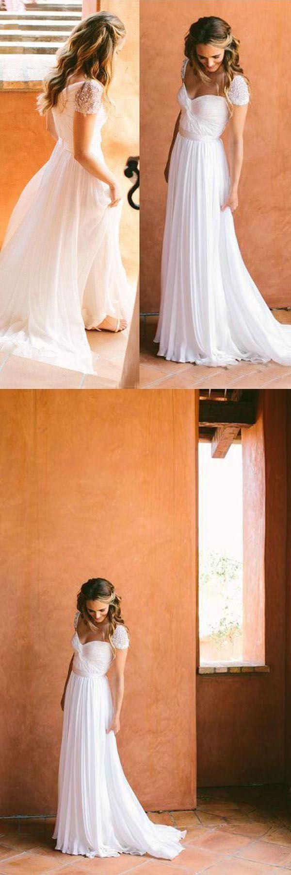 Nice Long Wedding Dresses With Chiffon A-line/Princess Zipper WD206 #wedding #dress #pgmdress