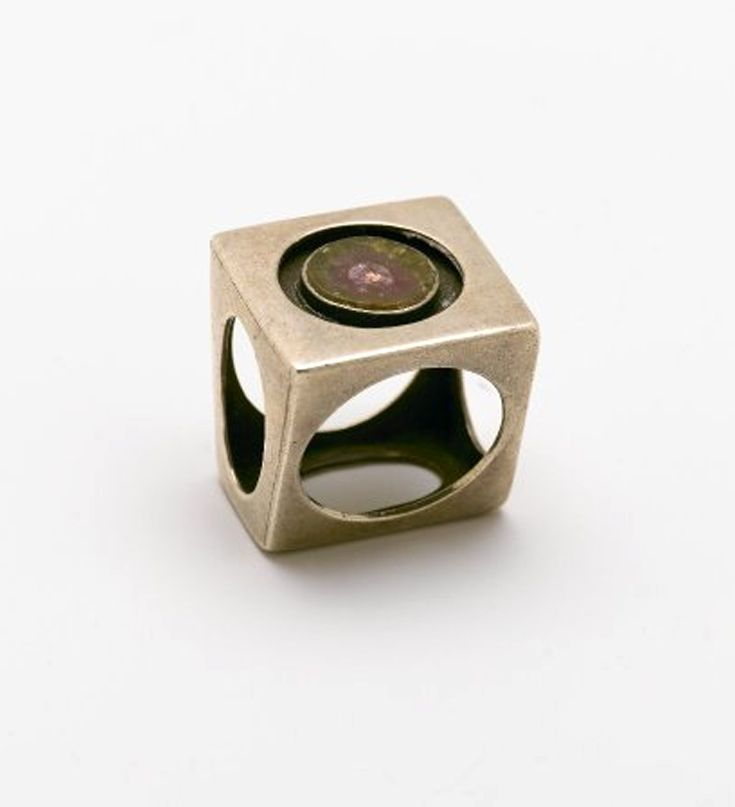 "Ring | Art Smith.  ""Circles in Cube"".  Sterling silver, tourmaline (elbaite) matrix.  ca. 1960"