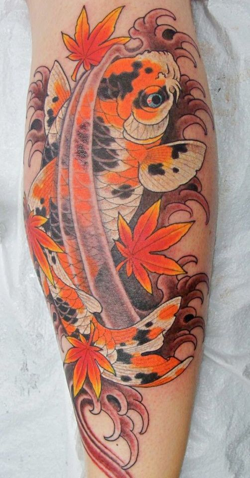I have seen lots of Koi tats but I have never seen a spotted Koi fish. Its awesome! By Chirs Garver