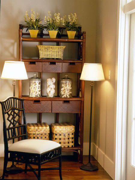 baker's rack or bookshelf decorating