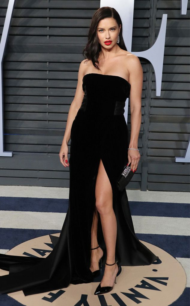 Adriana Lima from 2018 Vanity Fair Oscars After-Party  The model stunned in a strapless dress with a thigh high slit.