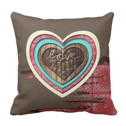 3D Heart Wood Carved Txt & Bandana Print Pattern Throw Pillow - rose style gifts diy customize special roses flowers