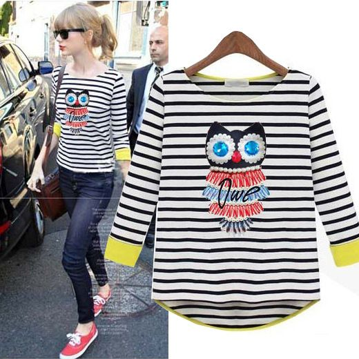 Aliexpress.com : Buy Fashion 2013 autumn stripe slim basic shirt female women's owl loose cotton t shirt 9112 from Reliable shirt in suppliers on Cherry&jiang. $15.46 - 20.62