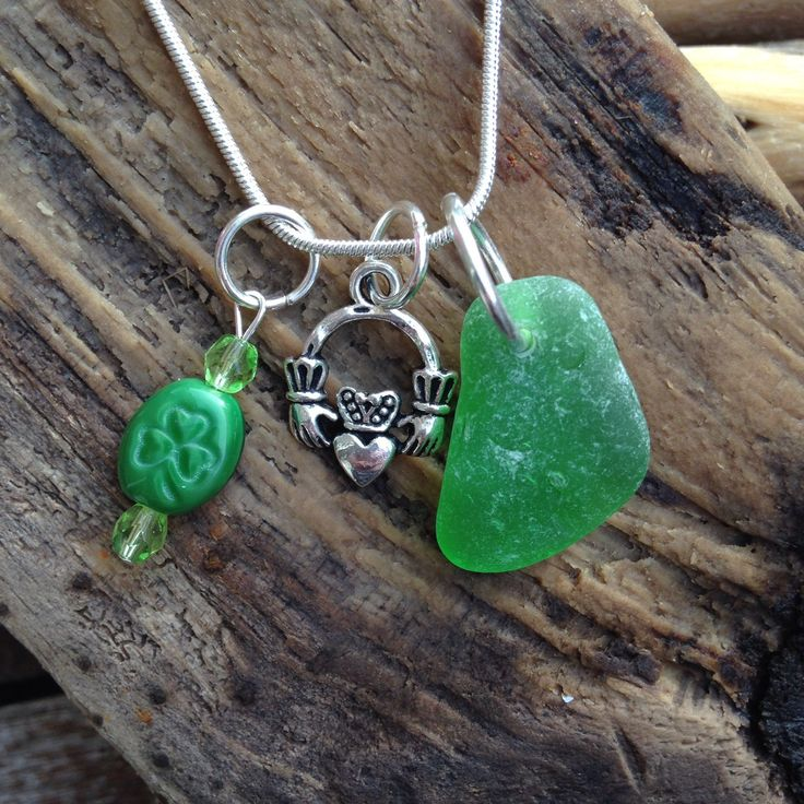 Green Irish Seaglass , Claddagh Charm, and Green Shamrock and Glass Beads by MajackalCreations on Etsy