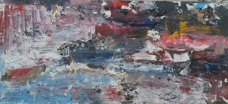 """Waterfall and river "" 17x37cm mixed media DAVE LAMB"