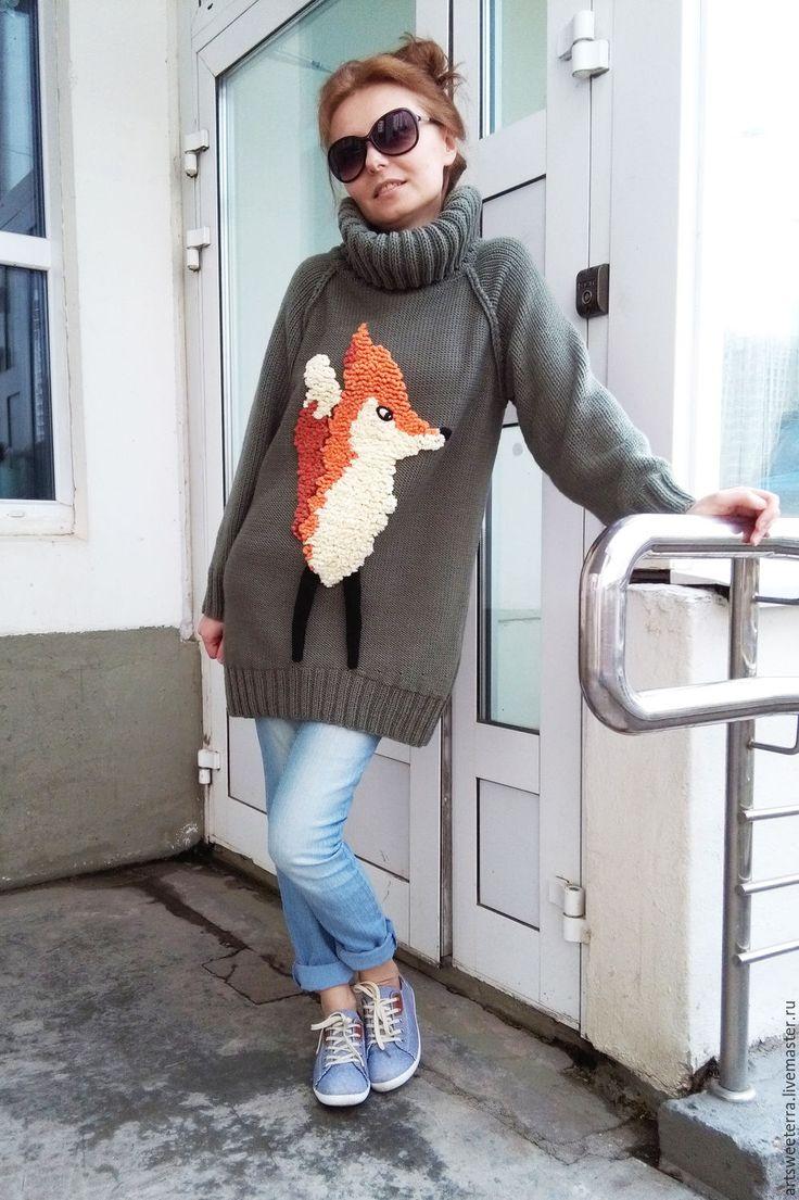 Купить Свитер с лисой - лиса, лисенок, лисичка, свитер, вязаный свитер женский, для девушки