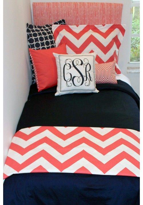 D2D Designs: Coral and Navy Coordinating Dorm Sets | Sorority and Dorm Room Bedding