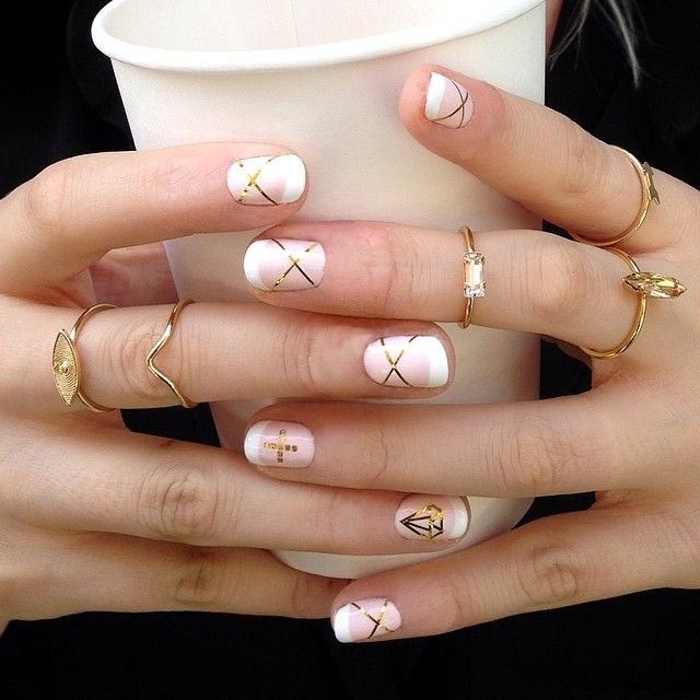 """thirteen-thirteen-13-13: """"Miss @thisisprima turned me out today with this killer rose French manicure with gold accents, including a killer diamond! @annasheffield & I are getting dolled up for the..."""