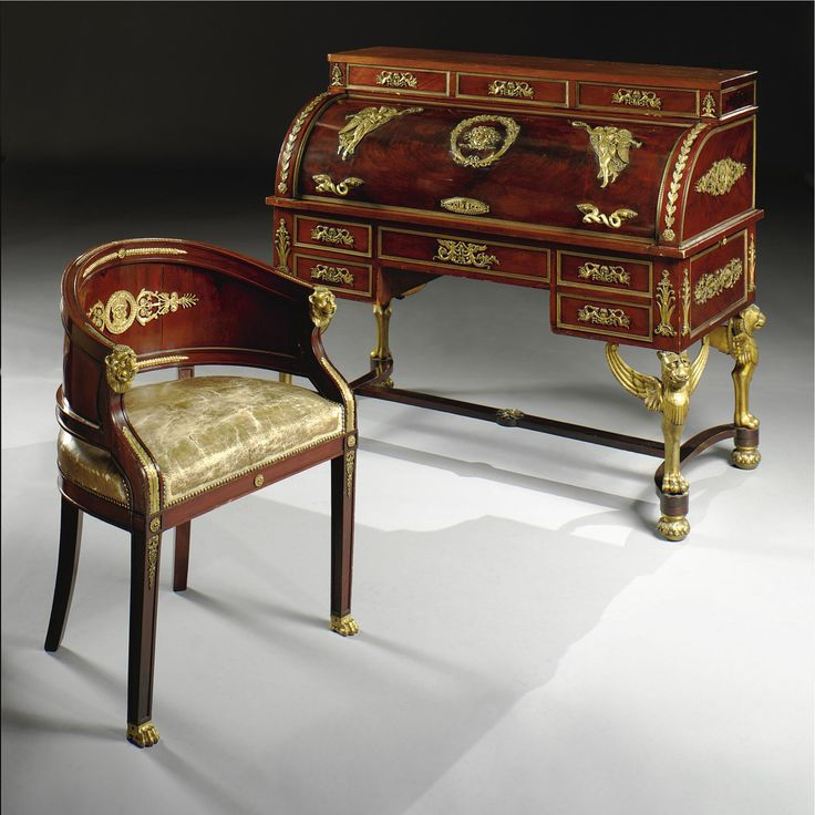Boureau And Chair In Mahogany And Mahogany Palm With Golden Bronze  Applications Century French Imperial Period.