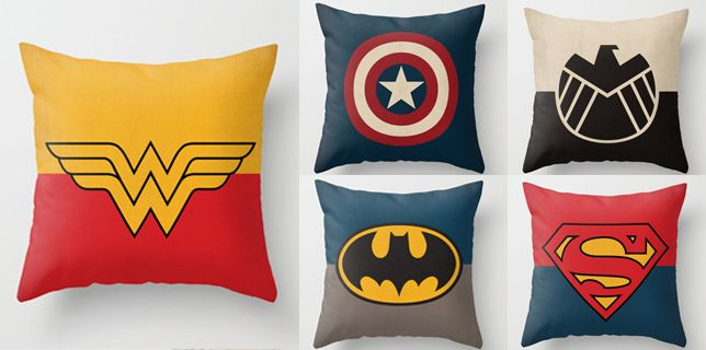Home Decor Geek: Superhero Throw Pillows  I need these in my life <3
