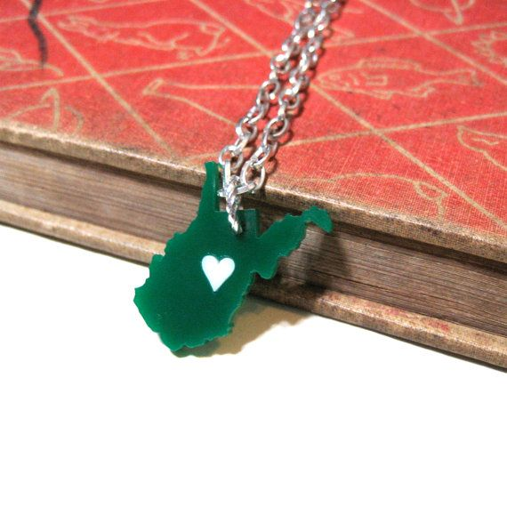 West Virginia Love Necklace - Marshall University - Green with White Heart on Etsy, $18.00