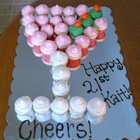 21st Birthday Martini Glass Cake! These are strawberry champagne cupcakes too!