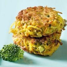 1 hakket løg3 gulerødder (godt 150 g)50 g hakket broccoli (evt. stokken)1 skrællet bagekartoffelsalt, peber,2 ægca. 2 dl havregrynsmør eller olieRiv