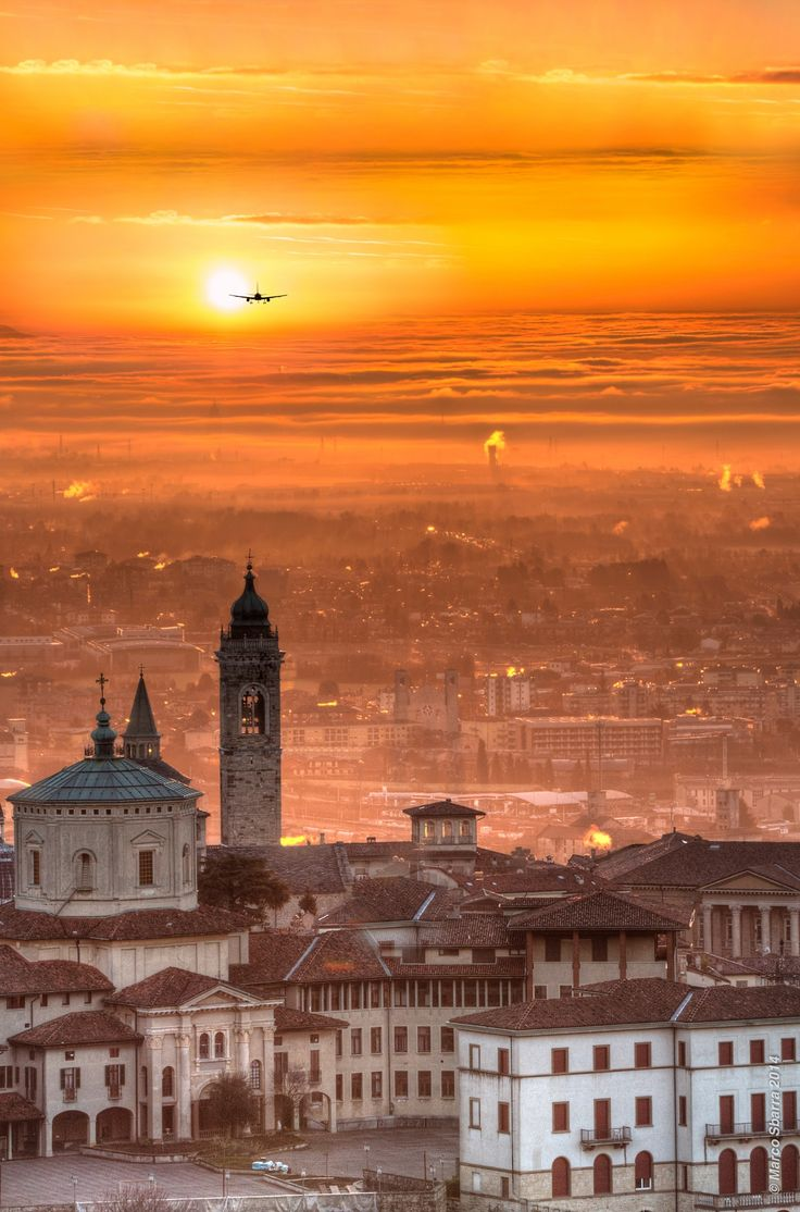 Sunset over Bergamo - Italy
