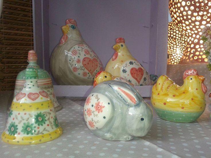 Animaletti: gallina, chioccia, coniglio (per bomboniera), campanelle e lampada traforata
