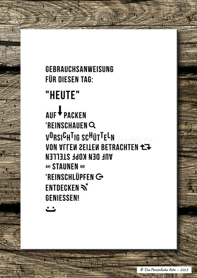 Du weißt gar nichts anzufangen mit diesem Tag? Kein Problem, gibt doch schließlich für alles Gebrauchsanweisungen! :) - Druck/Wandbild/Print: Gebrauchsanweisung für Heute