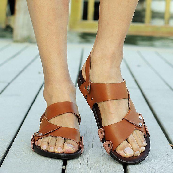 Sandalias-de-Hombre-de-Cuero-Zapatillas-De-Playa-al-Aire-Libre-Deporte-Sandalias-Zapatos