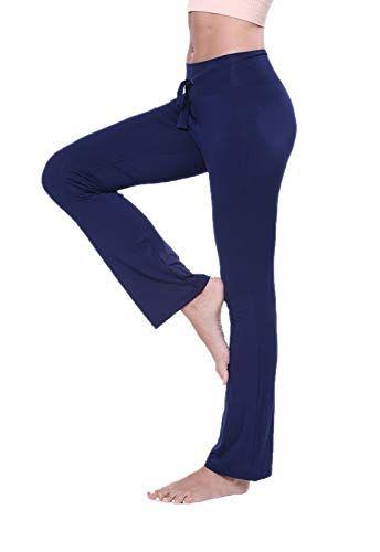 0ca4d64fab3ab FITTOO Pantalon Yoga Doux Modal Pyjama Femme Fluide Lâche Sport Elastique  Legging Taille Haute Fitness Jogging