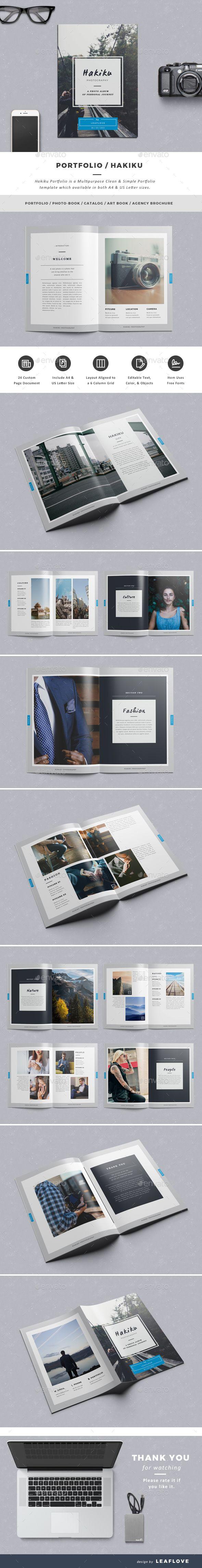 Portfolio / Hakiku Brochure Template InDesign INDD #design Download: http://graphicriver.net/item/portfolio-hakiku/13486618?ref=ksioks
