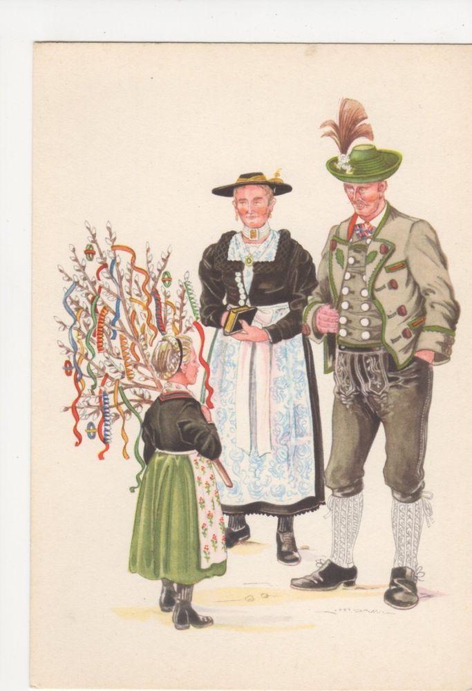 Germany, Bayerische Trachten, Berchtesgadner Land Art Postcard