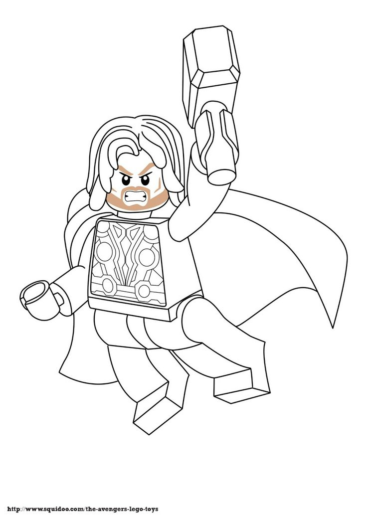 Avenger Lego Coloring Page Thorjpg Birthday Themes Coloring Lego Marvels