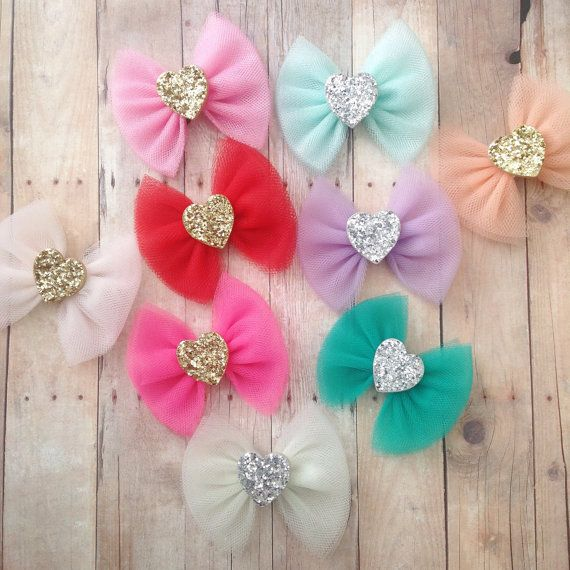 Valentines day Tulle bows glitter heart silver gold by SplendidBee
