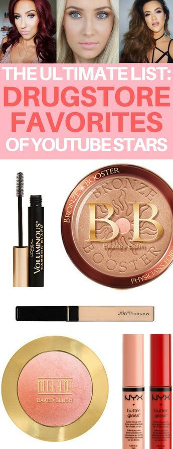 The BEST roundup of drugstore makeup favorites of top beauty YouTubers like Jaclyn Hill & Lauren Curtis! Best drugstore foundation, blush, lipstick, mascara, concealer and more!