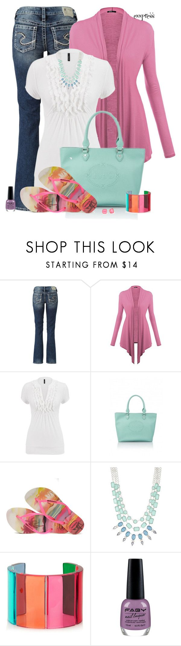 """""""So Long, Farewell."""" by exxpress ❤ liked on Polyvore featuring Silver Jeans Co., maurices, Havaianas, Robert Rose, Valentino, Kate Spade and FABY"""