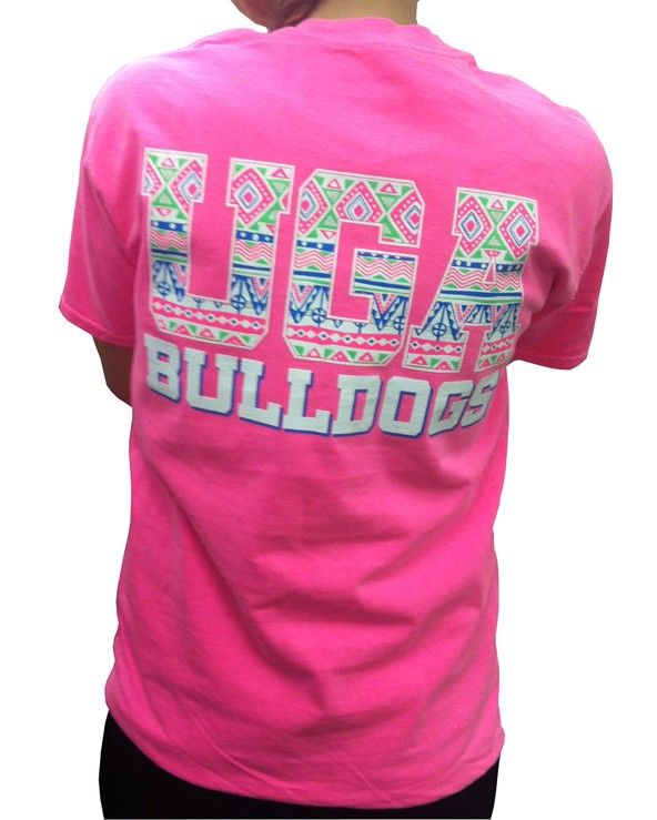cheer on the bulldogs in this lively short sleeve shirt this cotton comfort colors tee features an aztec design across the back and on the front pocket