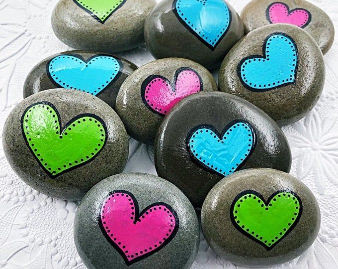 Pink Heart Stone, Single or Double Heart Painted Rock, Party Favors, Anniversary favours, Valentines Day gift