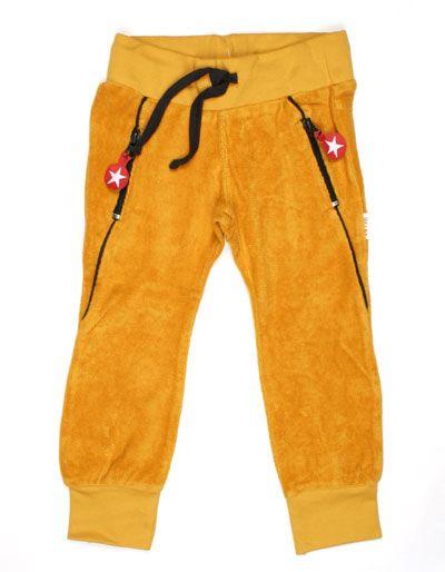 Mosterdgele terry broek voor kinderen met donkergrijze afwerking - Kik*Kid