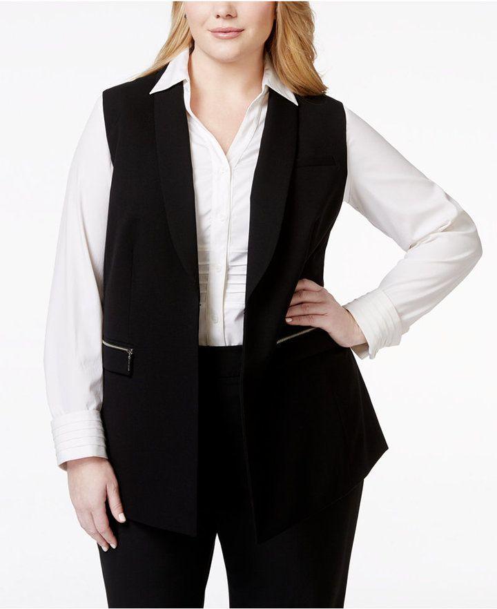 plus size dress vest zipper