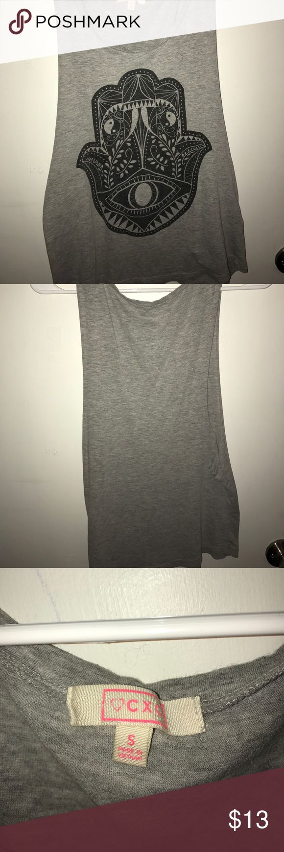 Hamsa Tank Top Grey tank top with black hamsa design, large arm holes, (looks super cute with a black bralette/bandeau underneath), perfect condition Charlotte Russe Tops Tank Tops