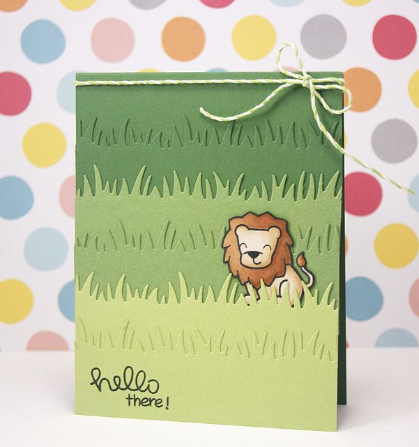 Lawn Fawn - Critters on the Savanna, Grassy Border die, Hello Sunshine sentiment, Lime Lawn Trimmings _ card by Yainea for Lawn Fawn Design Team