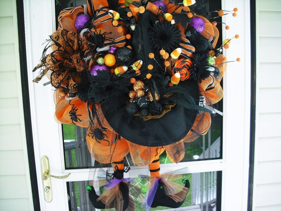 Black & Orange Witch Wreath by WreathsEtc on Etsy, $198.00: Halloween 3 3 3, Halloween Boo, Witch Wreaths, Halloween Happy, Holidays Ideas, Halloween Fal, Orange Witch, Halloween Wreaths, Halloween Ideas