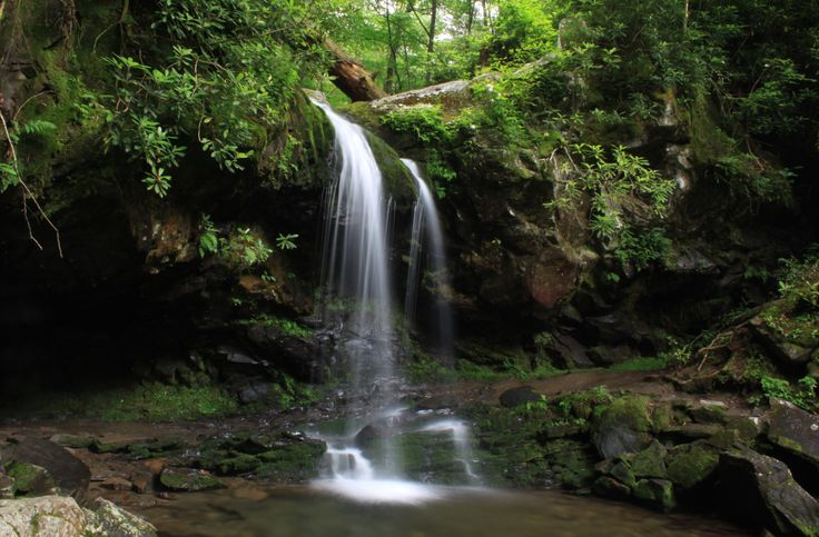 Grotto Falls - A great hike if you want to see a beautiful Smoky Mountain waterfall. #hike #waterfall