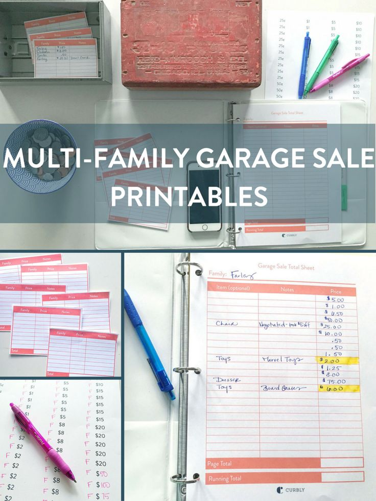 Printables to help you pull off a Multi-Family Garage Sale