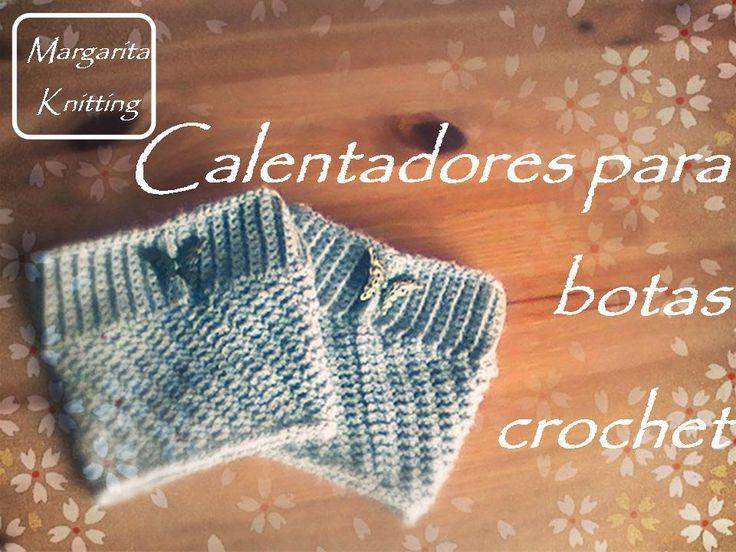 Calentadores para botas a crochet (diestro) - crochet boot cuff (English...