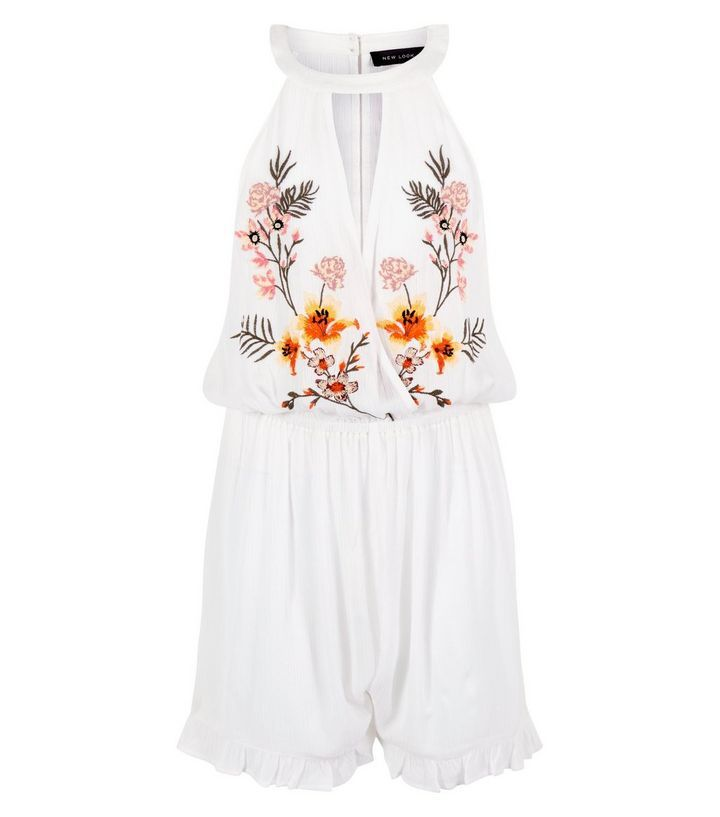 White Floral Embroidered Keyhole Beach Playsuit  | New Look