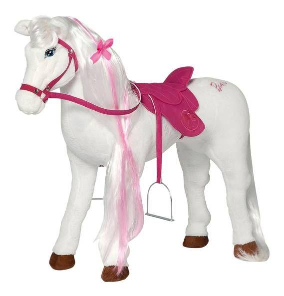 Reitpferd Barbie mit Sound weiß-rosa