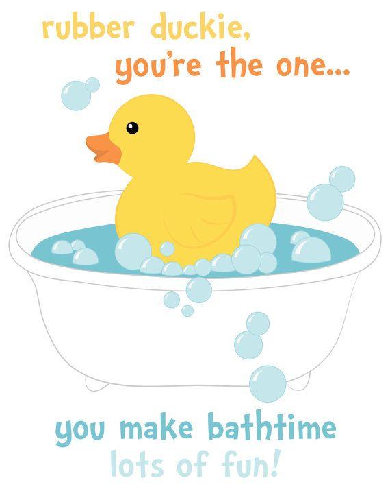 Rubber Duckie Bathtime Printable 8x10 Nursery Art