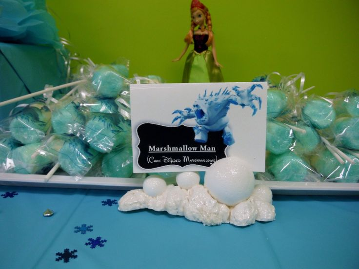 Marshmallow man - marshmallows on a stick covered with white candy melts and then dipped in blue crystal sugar.
