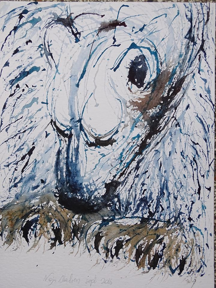 Beskidte Poter (Dirty Paws) A polar bear. Watercolour sept. 2016. by www.najaabelsen.dk