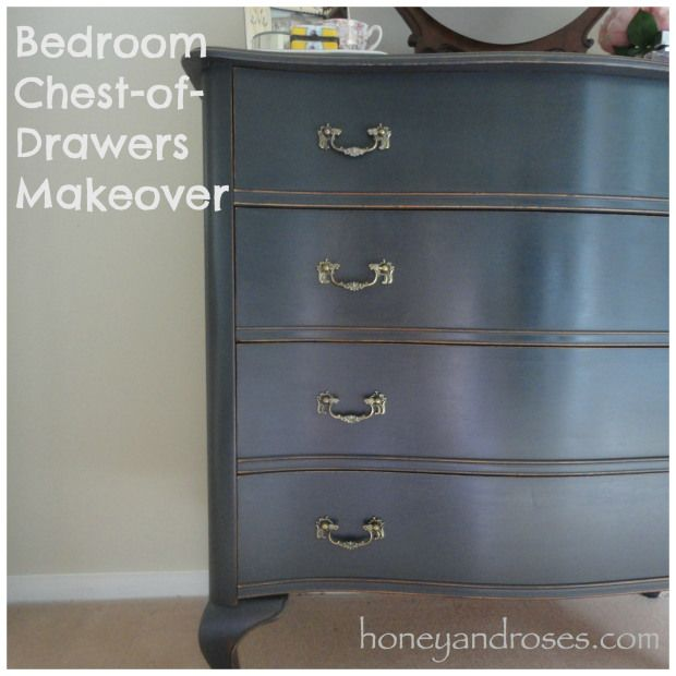 Bedroom chest-of-drawers makeover with chalk paint @ honeyandroses.com