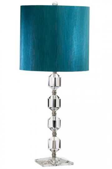 Crystal table lamp with turquoise shade home decor pinterest Home decorators lamp shades