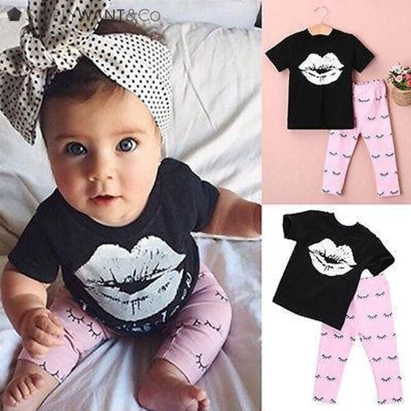 Summer Girl Printed Big Lips Top with Eyelashes Design for Pants #toddlers #girls #summer #printed #lips #pants #fashion #affordable